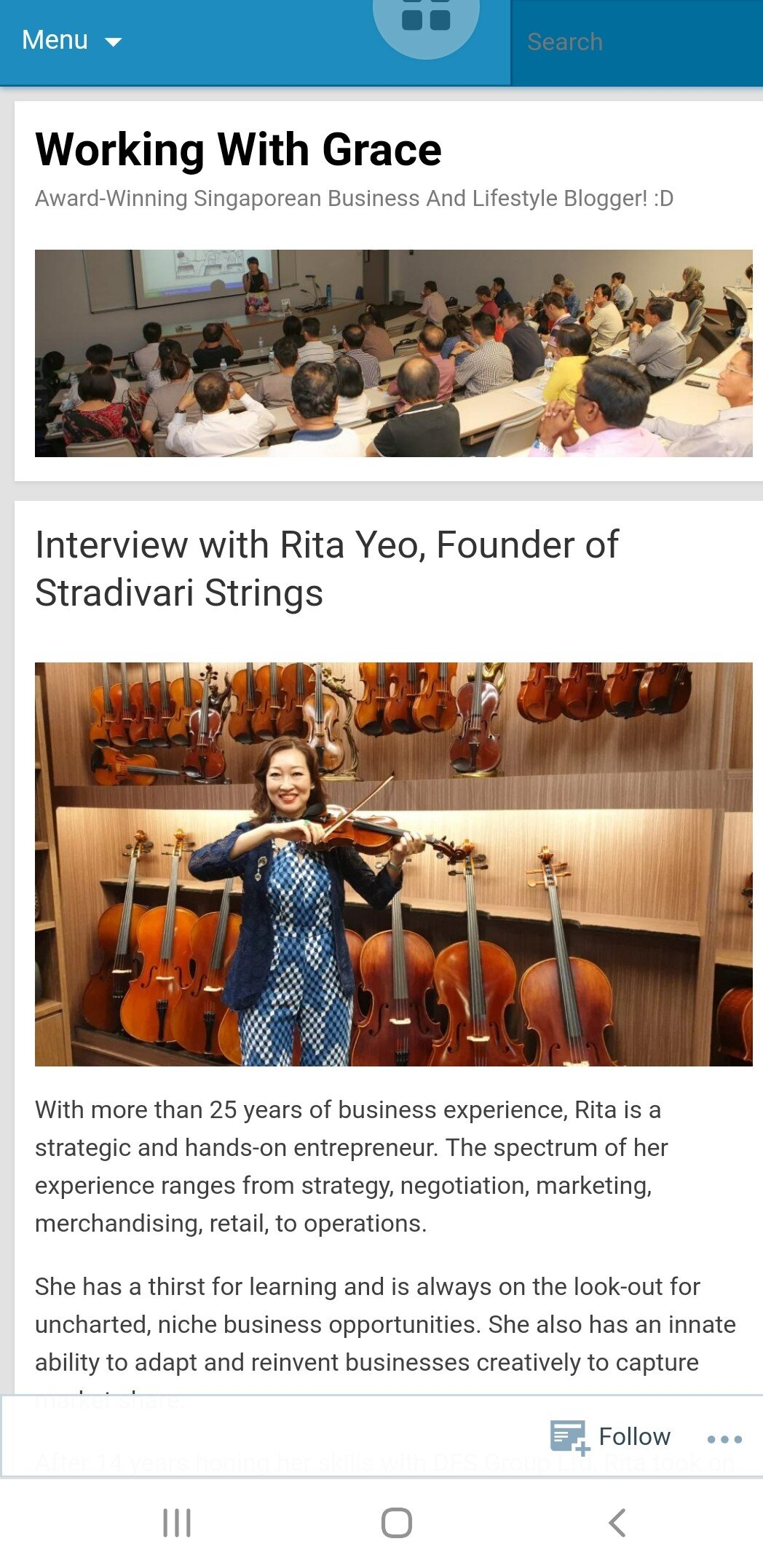 Stradivari Strings interview by Multiple Award winner and Business and Lifestyle blogger, Grace Tan