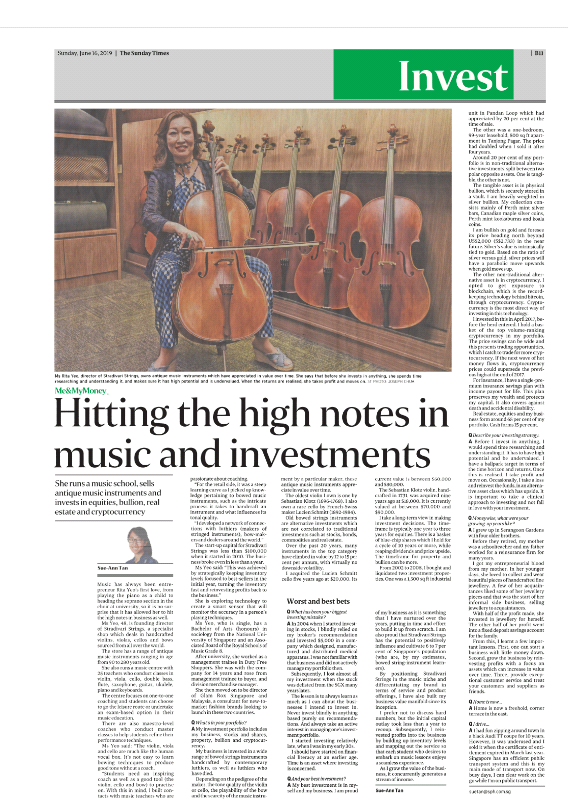 Stradivari Strings featured in the Sunday Times on 20th June 2019