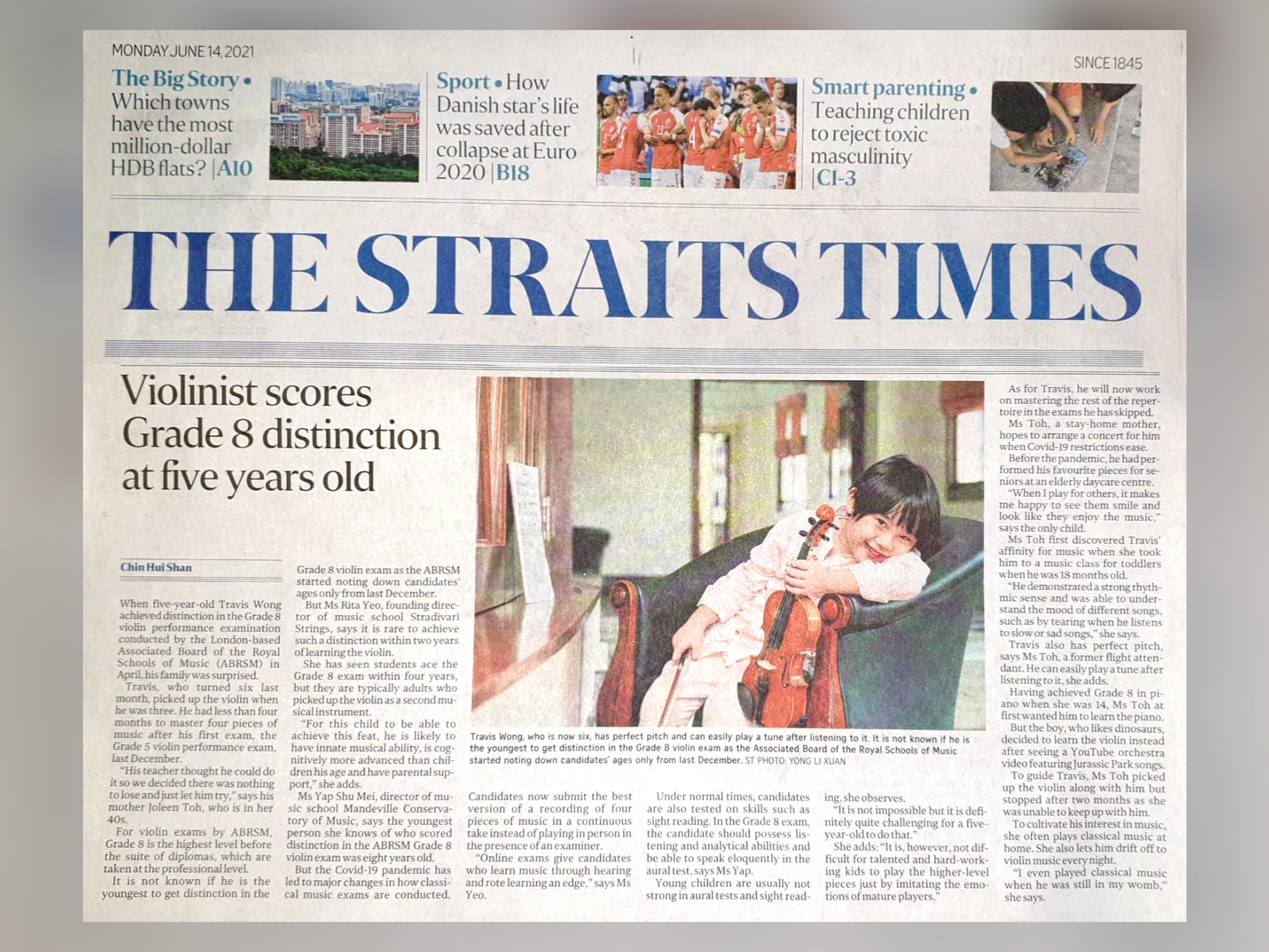 Interview by the Straits Times on 14th June, 2021